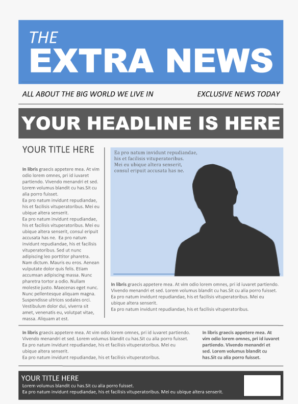 Free Newspaper Template Pack For Word Perfect For School – Newspaper Layout Template