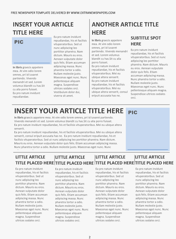 Newspaper Article Template Editable Newspaper Template Portrait
